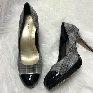 LIKE NEW Tahari Laurie Plaid and Patent Pumps 10 M